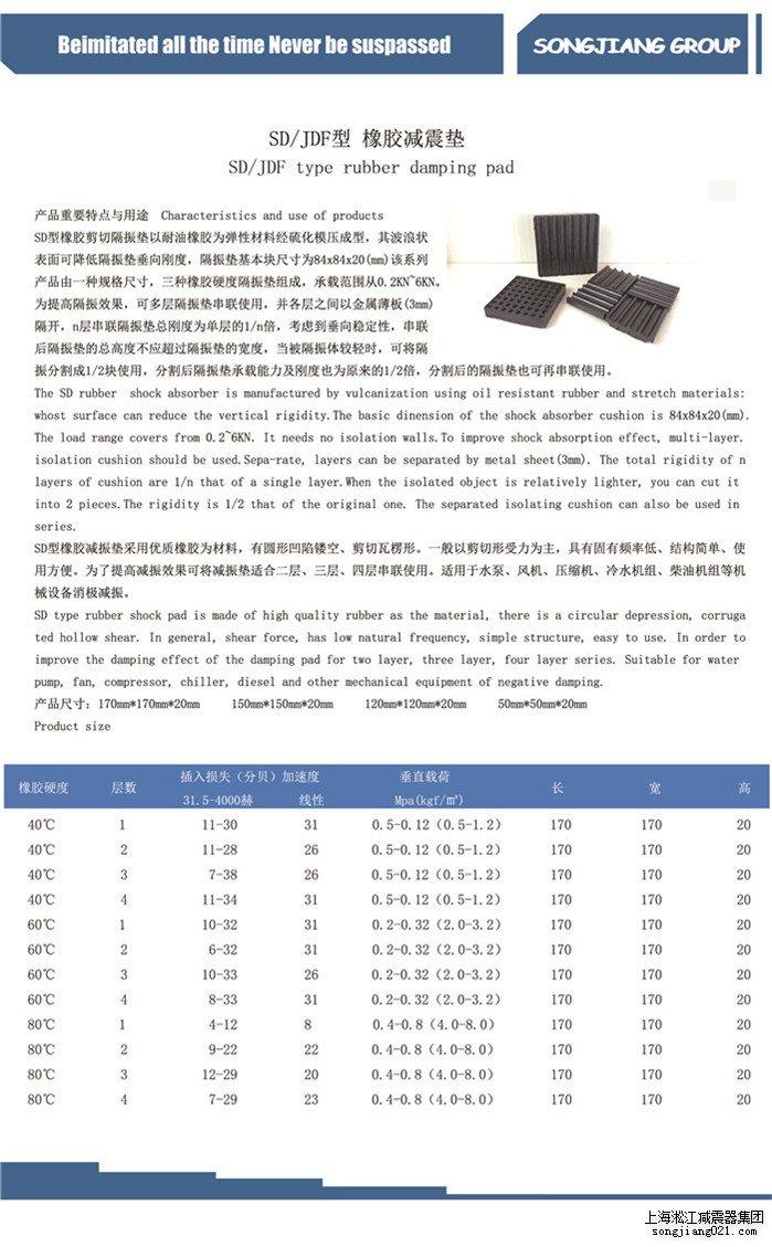 淞江SD型橡胶减震垫